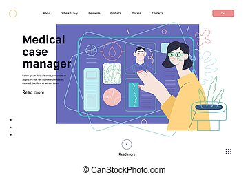 Medical insurance template -medical case manager -modern flat vector concept digital illustration of a manager reordering the medical procedures and diagnosiss, process metaphor, medical insurance plan