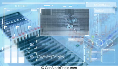 Animation of data floating on a view of a laboratory equipment  and blood samples. Covid 19 pandemic health care science concept digitally generated image.
