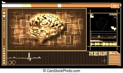 Medical interface showing brain - Medical digital interface...