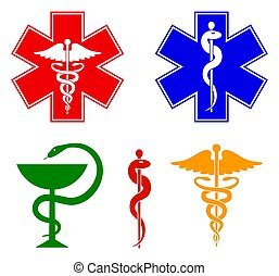 Medical international symbols set. Star of life, staff of Asclepius, caduceus, bowl with a snake. Isolated symbols on white background. Vector illustration.