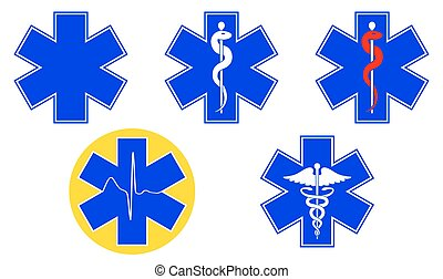Medical international symbols set. Star of life, staff of Asclepius, caduceus, Vector