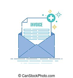 Medical invoice receipt in an envelope poster