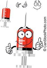 Medical isolated syringe cartoon character