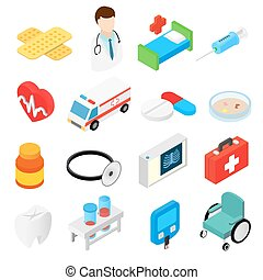 Medical isometric 3d symbols collection