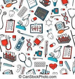 Medical items vector seamless pattern