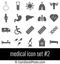 medical., jogo, cinzento, ícones, experiência., 2., branca, ícone