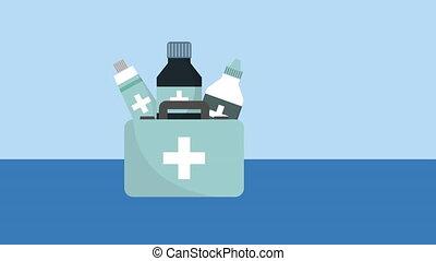 medical kit drugs storage animation - medical kit drugs...