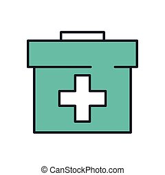 medical kit handle line and fill style icon
