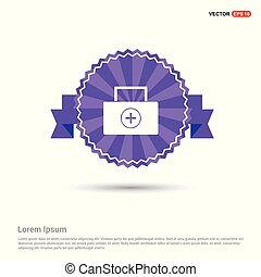 Medical kit icon - Purple Ribbon banner