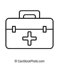 medical kit with cross line style icon