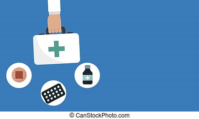medical kit with set icons animation