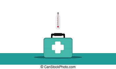 medical kit with stethoscope animation