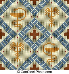 Medical knitted woolen pattern with the Bowl of Hygieia and winged Caduceus in bright colors