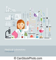 Medical Laboratory Conceptual. Vector Illustration.