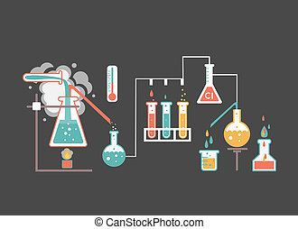 Medical laboratory infographics depicting a chemical...