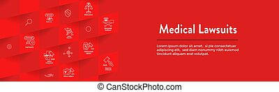 Medical Lawsuits Icon Set and Web Header Banner - Medical...