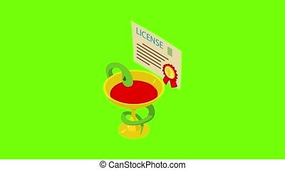 Medical license icon animation cartoon best object on green screen background