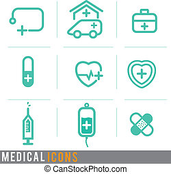 medical line concept icons set, vector illustration