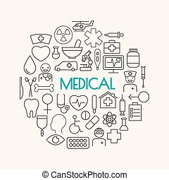 medical line  icons set and Background