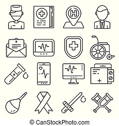 Medical line icons set on white background