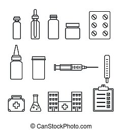 Medical  linear icons set. Medicines, pills, hospital, syringe, thermometer.  Vector illlustration.