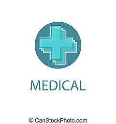 Medical logo, abstract blue cross, medicine design icon