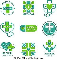 Medical logotypes. Medicine pharmacy clinic or hospital cross plus health care vector symbols design template