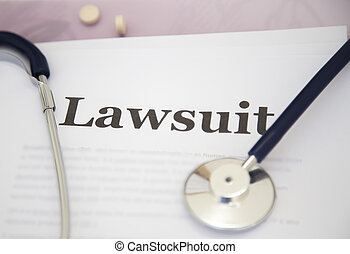 Medical Malpractice Paperwork Lawsuit Papers on desk of a...