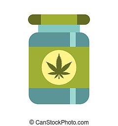Medical marijua bottle icon, flat style