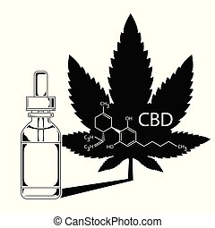 Medical Cannabis Oil Extract In Bottle. A sheet of marijuana in the defocus with the image of the formula CBD. silhouette vector illustration.