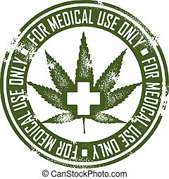 Distressed rubber stamp style graphic depicting marijuana