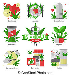 Flat icons set of daily medical marijuana uses, research cannabinol effect in medicine, cannabis variety using forms. Modern design style illustration symbol collection. Isolated on white background.