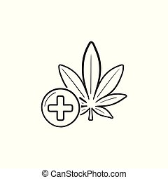 Medical marijuana hand drawn outline doodle icon.