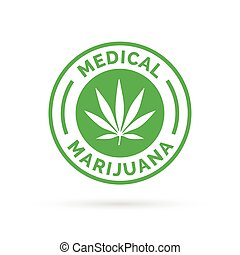 Medical Marijuana icon design with Cannabis hemp leaf stamp sign