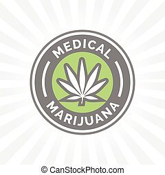Medical Marijuana icon design with Cannabis hemp leaf symbol