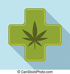 Medical marijuana icon, flat style - Medical marijuana icon....