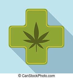 Medical marijuana icon, flat style - Medical marijuana icon....