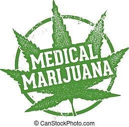 Medical Marijuana Leaf Stamp