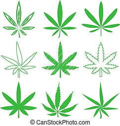 Medical marijuana or cannabis vector icons set