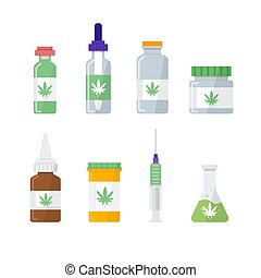 Medical marijuana, pharmacy cannabis icons set. Vector illustration, flat style.