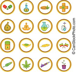 Medical marijuana vector set, cartoon style