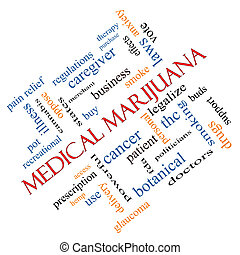 Medical Marijuana Word Cloud Concept Angled - Medical...