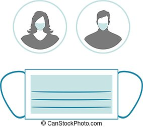 Medical mask and two icons with female and male silhouette ...