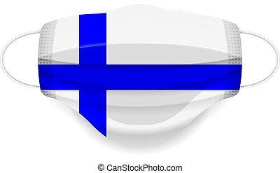 Medical mask Finland flag on a white background. Vector illustration.