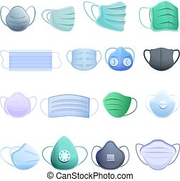 Medical mask icons set, cartoon style