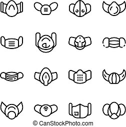 Medical mask icons set, outline style