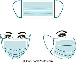Medical mask. Instruction for use. Vector illustration