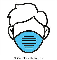 Character wearing protective surgical mask. Isolated icon of personage with equipment against viruses and bacteria. Preventive measures during covid 19. Influenza or cold vector in flat style