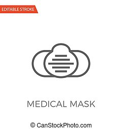 Medical Mask Vector Icon - Medical Mask Thin Line Vector...