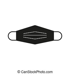 Medical mask vector icon isolated on white background .